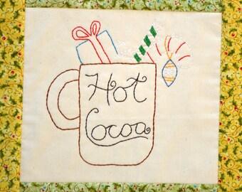 "PDF Stitchery Pattern ""Hot Cocoa"" Embroidery Christmas Winter"