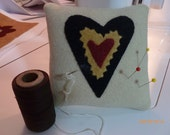Primitive Square Wool with Heart Pin Cushion, Item #500-1002, Primitive Stitched, FAAP