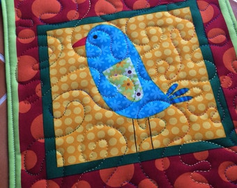 Bird snack mat - bright and fun - oversized coaster - mini placemat great for kids