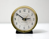 Mid Century Westclox Baby Ben Alarm Clock in Black and Gold
