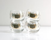 Vintage Mid Century Black and Gold Roly Poly VIP Glasses