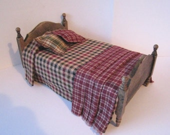 Bed ,Single,  country style, , dollhouse miniature, twelfth scale,