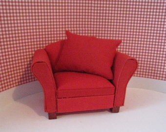 Dollhouse Chair, Red Chair,  living room chair,  soft furnishings, living room,   , twelfth scale, dollhouse miniature soft chair