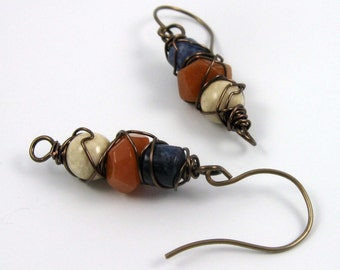 Rustic wire wrapped earrings, mixed gemstone beaded dangles with jasper and sodalite on brass wires