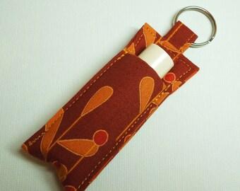 Keychain,Lip Balm Key chain, Chapstick Holder, chap stick cozy keychain,Lipbalm pouch, lipstick case cozy- Burnt Orange leaf
