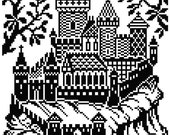 Castle 1 and 2. Cross stitch/filet crochet pattern. Instant download PDF.