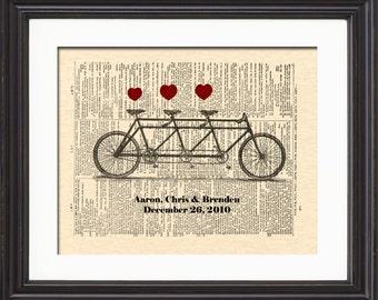 Tandem Bicycle For Three Art Print, Custom Bicycle Nursery Art, Art For Nursery, New Baby Art Print Gift, Custom Baby Gift
