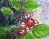 SALE!! Giving the Raspberry, original pastel painting of raspberry bush, 5 x 7, mahogany frame