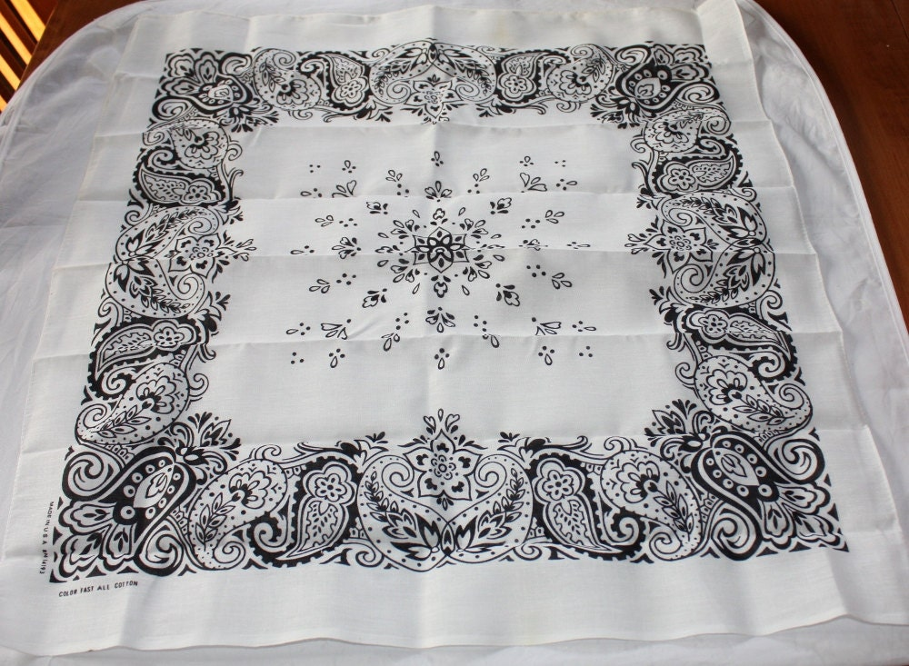 vintage black and white bandana handkerchief made in usa