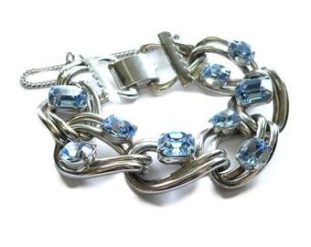 Blue Crystal & Silver Bracelet, 1950s Blue Glass Rhinestone Bracelet, Silver Link Bracelet, Heavy Bridal Statement Bracelet, Wedding Jewelr