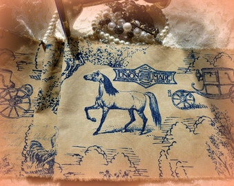 Hurry!  Last One!  Blue Toile  Equine Distressed Ribbon - Forty Five Inches in Length