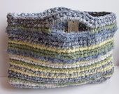 Crochet Rag Bag Blue Green Yellow and White Market Tote Bag Purse Beach Bag Recycled Materials