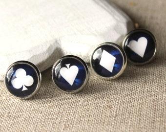 Poker earrings, poker jewellery, Card game Jewelry, choose STUDS or CLIPS gift for gambler earrings heart club spade diamond E554