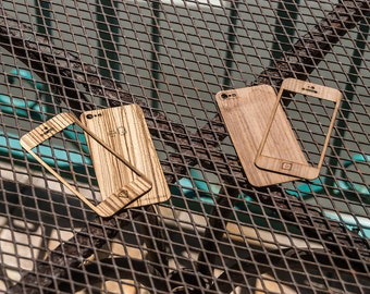 Real Wood iPhone Skin in Teak, Walnut, Zebrawood, Bamboo, Red Oak, Mahogany, Birch or Wenge - Front & Back Laser-Cut Panels Only - NEW!