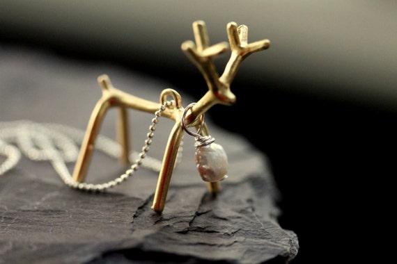 "Gilded Reindeer Charm Necklace - ""Gilded Season"""