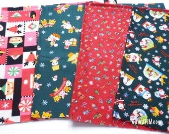 SALE - Japanese Fabric - Christmas 4 Fat Quarter Bundle Set - F193