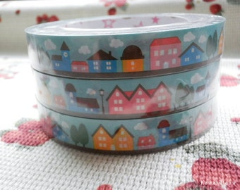 Kawaii Deco Tape - Town - 1 pc / 1.5cm wide x 25m (0.7in x 27 yards) (91955)
