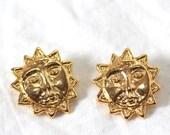 Vintage - Tiny Golden Sun Buttons Pair - Sunshine Face - Shanks (2) SALE