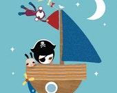 Childrens Art, Boy Nursery Prints, Art for Kids Room, Boat Art Print - 'Smooth Sailing' by Schmooks