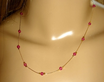 Ruby gold necklace Handmade 14K gold fill chain Dainty Ruby gold necklace