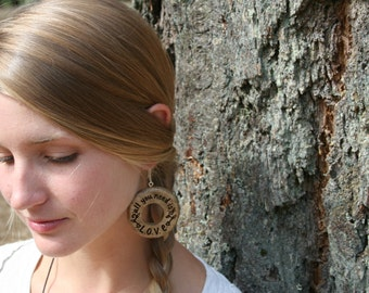 All You Need Is Love- Wood Hoop Earrings- in Oregon Myrtlewood (MOD 28)- Wooden Jewelry, Boho Jewelry