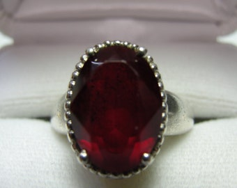 July Birthday Vintage sterling silver and ruby ring