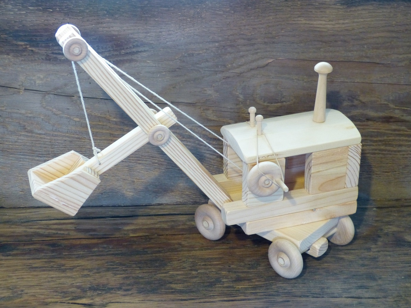 Handmade Wood Toy Steam Shovel Wooden Toys Woodworking