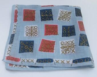 Unique Vintage Tic Tac Toe Hanky Handkerchief Hankie Cotton 1950s Red White Blue Gold