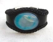 Druzy cuff, leather cuff bracelet, agate stone bracelet, blue and black, leather friendship bracelet cuff,  boho chic, bohemian gypsy hippie