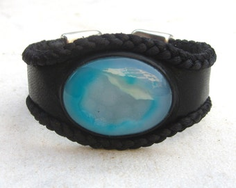 Druzy cuff, leather cuff bracelet, agate stone bracelet, blue and black, leather friendship bracelet cuff,  boho chic, bohemian gypsy hippie