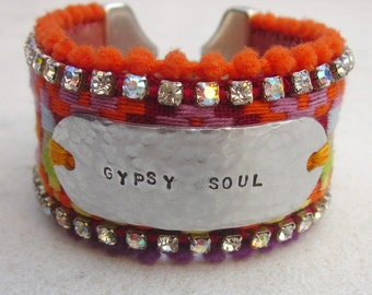 Hand stamped cuff bracelet, inspirational jewelry, gypsy soul rhinestone cuff, hippie bracelet, wide  tag bracelet, boho chic jewelry