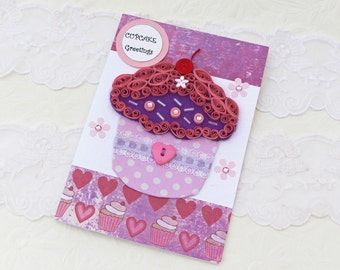 Card- Paper Quilling -Fabric Cupcake Card-Paper Quilled -Birthday-Congratulations-Thinking of You-Strawberry -Purple Pink Polka Dot