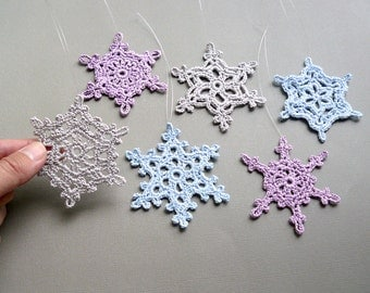 6 Large Snowflake Ornaments -- Blue, Lavender, and Gray Crochet Snowflakes -- Assortment CN6