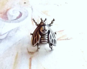 Blue Bottle - The Antiqued Silver Plated Fly Brooch Lapel Pin or Tie Pin with Gift Box