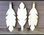 10 Pieces- Craft Wood Shapes Feather Shape Pendant Blanks MEDIUM SIZE