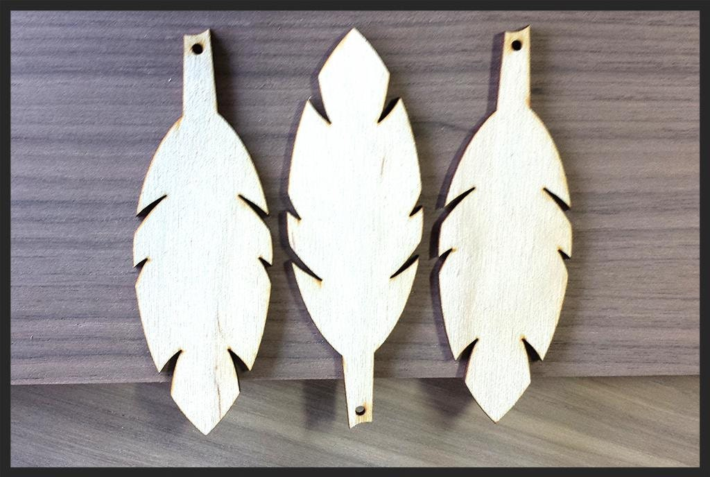 10 Pieces Craft Wood Shapes Feather Shape Pendant Blanks