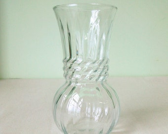 Vintage Small Clear Glass Vase Anchor Hocking
