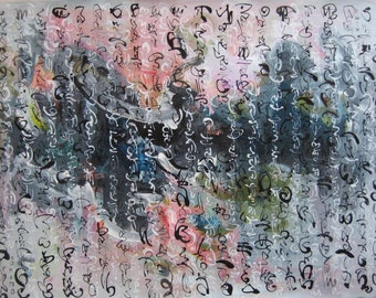 Original Calligraphy and landscape painting abstract art skim painting contemporary landscape and abstract calligraphy salmon and blue green