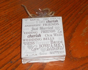Wedding Bridal Shower Engagement Drink Coasters - Set of Four - Ceramic Tile Coasters, Wedding Shower Gift, Wedding Shower Present