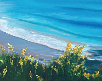GICLEE Fine Art Reproduction by Daina Scarola on fine art paper - Goldenrod Beach (yellow flowers)