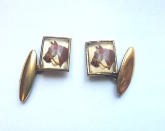 Cute vintage 1930's Horse Head Gilt mens Cuff links // art deco