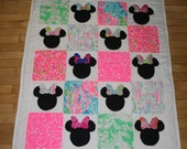 Made to order  Everybody Knows It's All About the Bows! Minnie Mouse inspired Quilt made with Lilly Pulitzer fabric