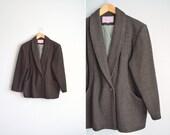 SALE // Size XL/1X // WOOL Striped Blazer // Chevron Stripes - Dark Brown Coat - Shawl Collar Blazer - Vintage '70s Minimalist.