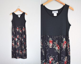 SALE / vintage '90s black ribbed FLORAL sleeveless MAXI tank dress. size s.