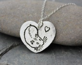 Hamster Love necklace - fine silver handmade heart charm with stamped hamster on sterling silver chain - free shipping in USA