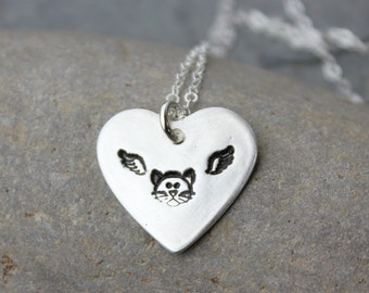 Kitty Angel necklace - handmade fine silver heart with cat face & angel wings - sterling silver chain - free shipping in USA