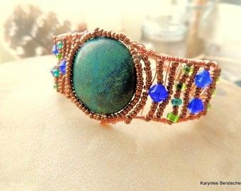 Copper Wire Wrapped Chrysocolla Bracelet Cuff, Native Inspired Bracelet Cuff, Handcrafted Copper Gemstone Bracelet Cuff