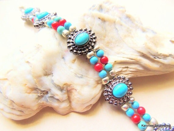Southwestern Turquoise Silver Red Coral Double Strand Native Inspired Cowgirl Bracelet