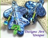 Polymer clay earring, jewelry, leaf earrings crystal earring, blue earring, woman jewelry