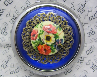 Floral compact mirror with protective pouch - unique gifts for bridesmaids - maid of honor, mother of bride - compact mirror with flowers